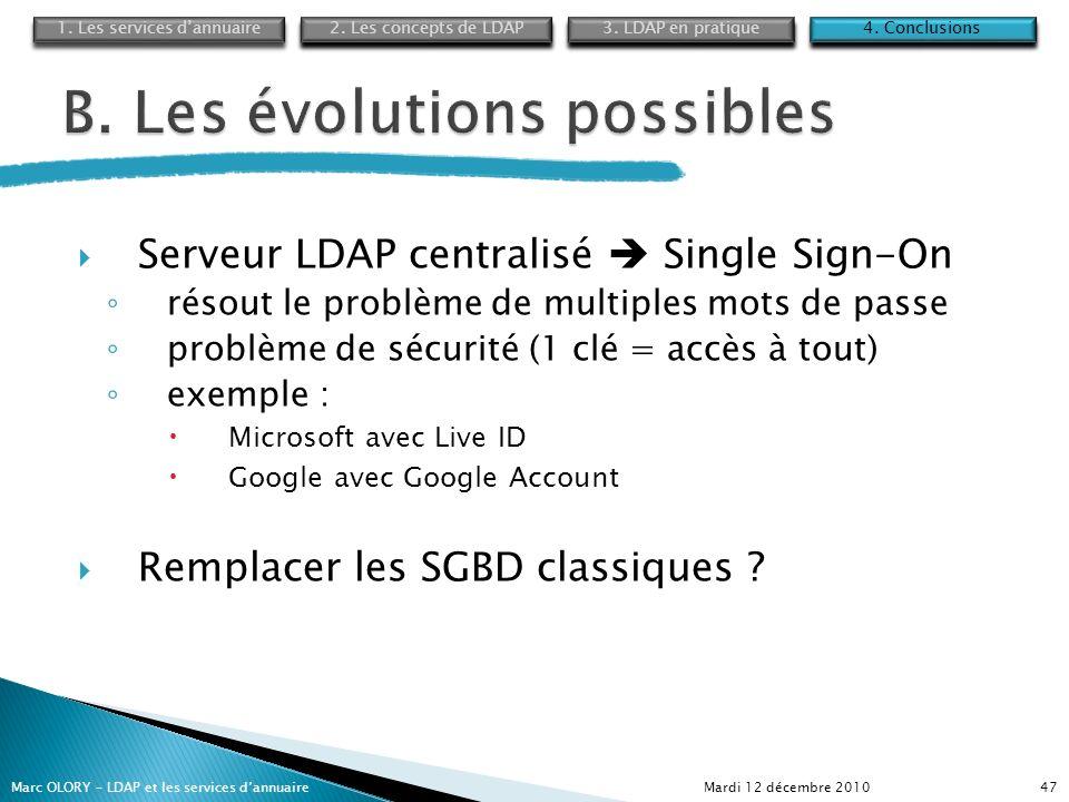 Serveur LDAP centralisé Single Sign-On résout le problème de multiples mots de passe problème de sécurité (1 clé = accès à tout) exemple : Microsoft a