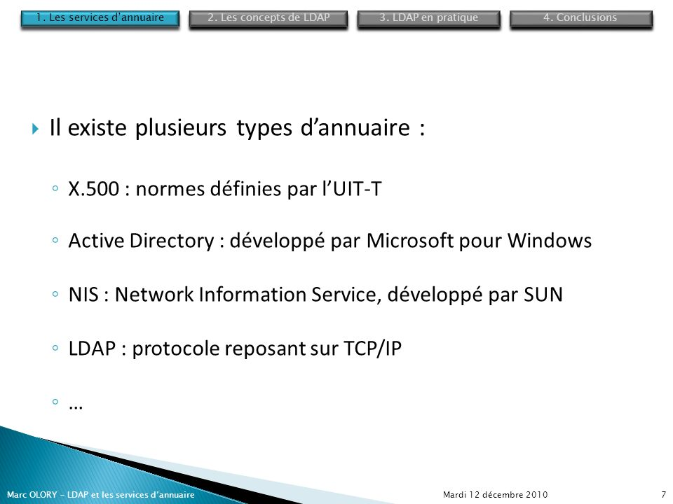 Mardi 12 décembre 2010Marc OLORY – LDAP et les services dannuaire7 Il existe plusieurs types dannuaire : X.500 : normes définies par lUIT-T Active Dir