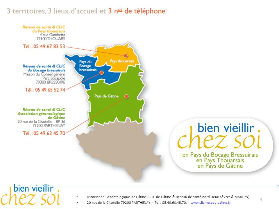 4 Association Gérontologique de Gâtine (CLIC de Gâtine & Réseau de santé nord Deux-Sèvres & MAIA 79) 20 rue de la Citadelle 79200 PARTHENAY – Tel : 05