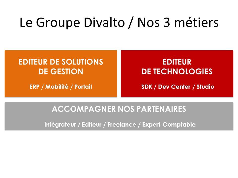 Le Groupe Divalto / Nos 3 métiers EDITEUR DE SOLUTIONS DE GESTION ERP / Mobilité / Portail EDITEUR DE SOLUTIONS DE GESTION ERP / Mobilité / Portail EDITEUR DE TECHNOLOGIES SDK / Dev Center / Studio EDITEUR DE TECHNOLOGIES SDK / Dev Center / Studio ACCOMPAGNER NOS PARTENAIRES Intégrateur / Editeur / Freelance / Expert-Comptable ACCOMPAGNER NOS PARTENAIRES Intégrateur / Editeur / Freelance / Expert-Comptable