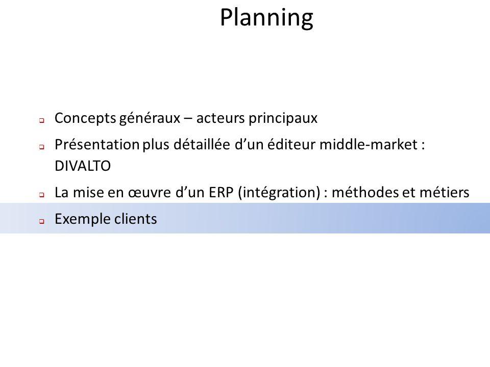 Planning Concepts généraux – acteurs principaux Présentation plus détaillée dun éditeur middle-market : DIVALTO La mise en œuvre dun ERP (intégration) : méthodes et métiers Exemple clients