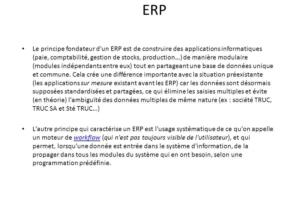 ERP Le principe fondateur d un ERP est de construire des applications informatiques (paie, comptabilité, gestion de stocks, production…) de manière modulaire (modules indépendants entre eux) tout en partageant une base de données unique et commune.