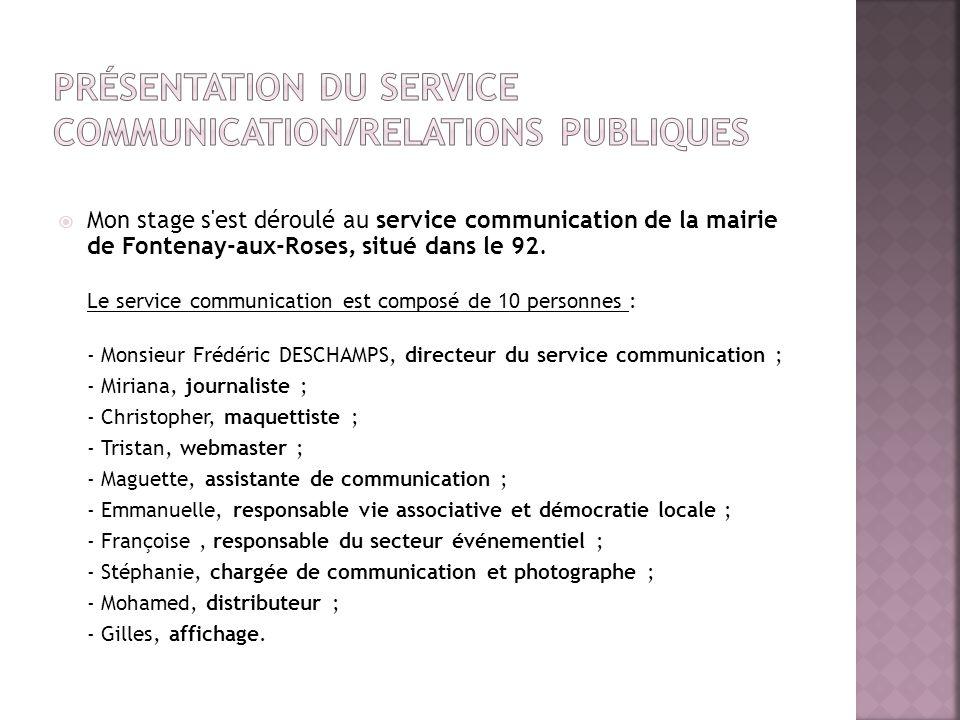 Mon stage s'est déroulé au service communication de la mairie de Fontenay-aux-Roses, situé dans le 92. Le service communication est composé de 10 pers