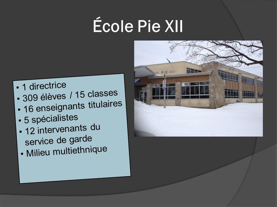 École Pie XII 1 directrice 309 élèves / 15 classes 16 enseignants titulaires 5 spécialistes 12 intervenants du service de garde Milieu multiethnique