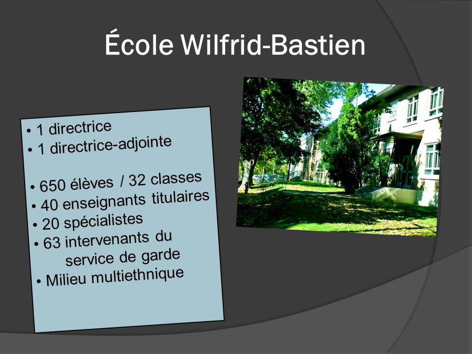 École Wilfrid-Bastien 1 directrice 1 directrice-adjointe 650 élèves / 32 classes 40 enseignants titulaires 20 spécialistes 63 intervenants du service