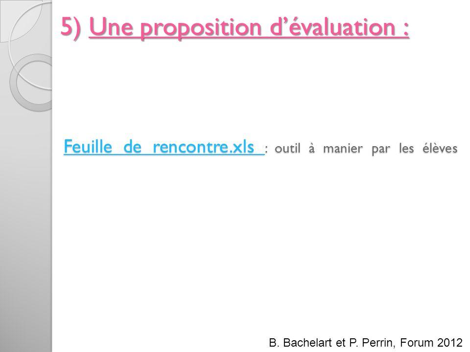 Feuille de rencontre.xls Feuille de rencontre.xls : outil à manier par les élèves Feuille de rencontre.xls 5) Une proposition dévaluation : B. Bachela