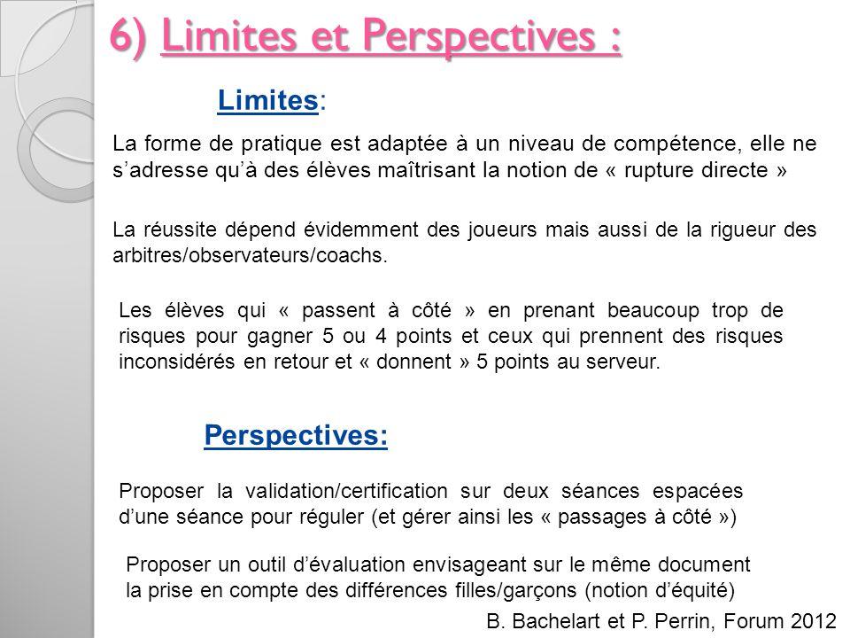 6) Limites et Perspectives : La forme de pratique est adaptée à un niveau de compétence, elle ne sadresse quà des élèves maîtrisant la notion de « rup