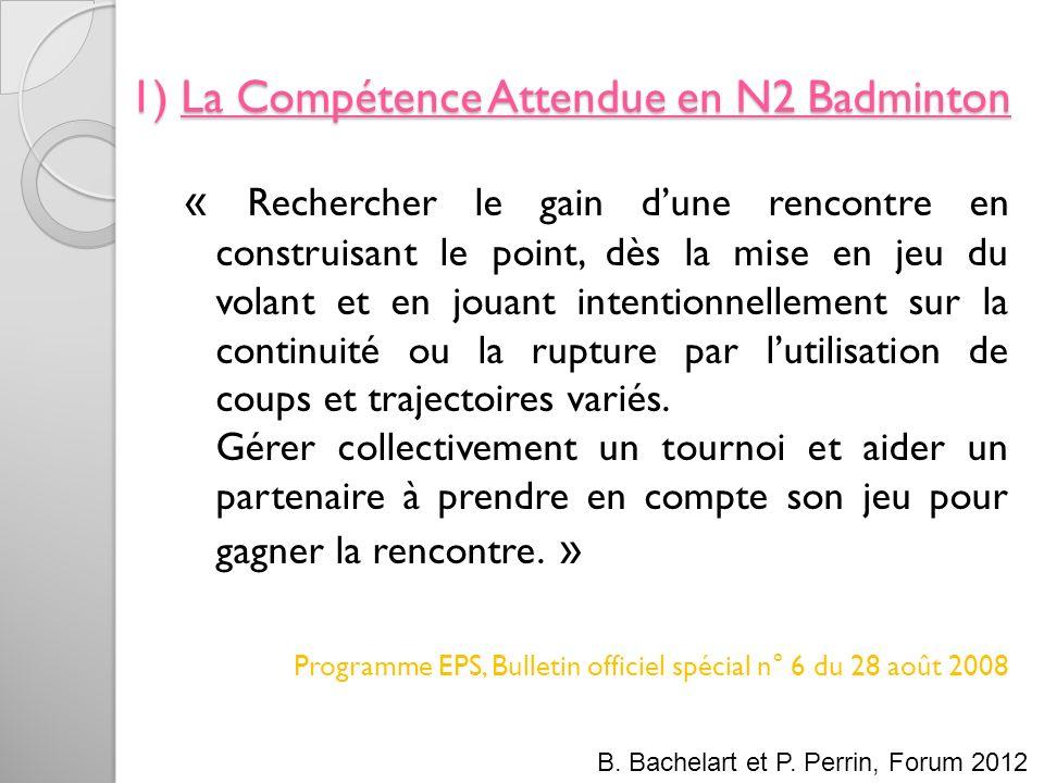 1) La Compétence Attendue en N2 Badminton « Rechercher le gain dune rencontre en construisant le point, dès la mise en jeu du volant et en jouant inte