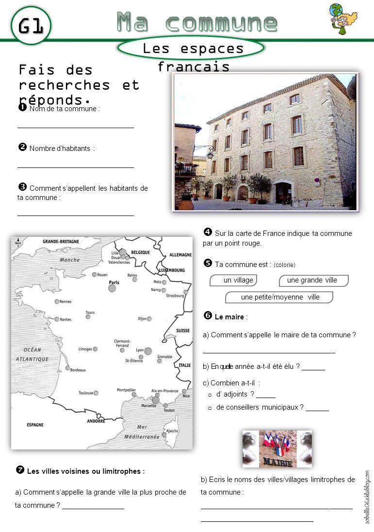 G1 Fais des recherches et réponds. Les espaces français Nom de ta commune : ______________________________ Nombre dhabitants : _______________________