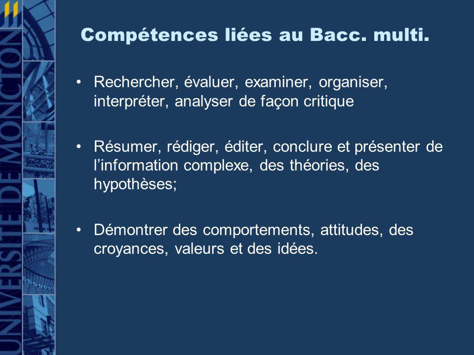 Compétences liées au Bacc.multi.