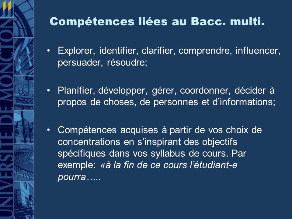 Étude sur le placement, Bacc.