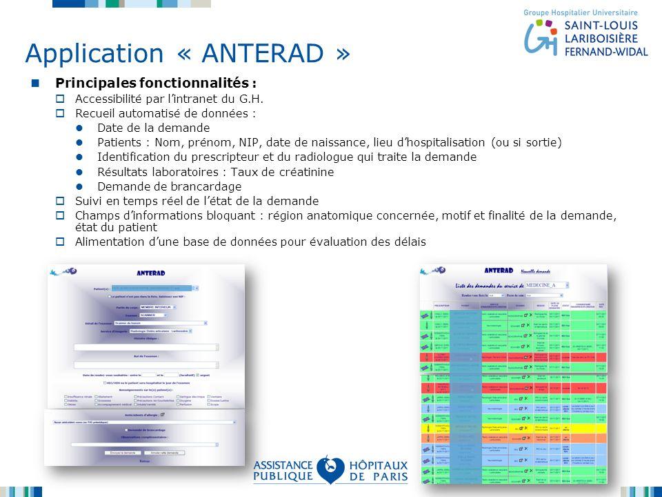 Application « ANTERAD » Principales fonctionnalités : Accessibilité par lintranet du G.H. Recueil automatisé de données : Date de la demande Patients