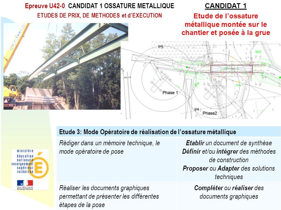 Retour au début Epreuve U42-0 CANDIDAT 1 OSSATURE METALLIQUE ETUDES DE PRIX, DE METHODES et dEXECUTION Rénovation du BTS Travaux Publics Etude 3: Mode
