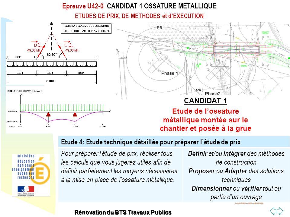 Retour au début Epreuve U42-0 CANDIDAT 1 OSSATURE METALLIQUE ETUDES DE PRIX, DE METHODES et dEXECUTION Rénovation du BTS Travaux Publics Etude 4: Etud