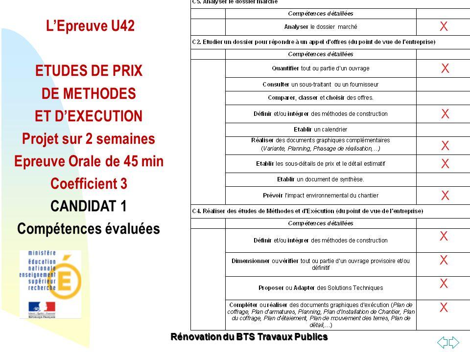 Retour au début LEpreuve U42 ETUDES DE PRIX DE METHODES ET DEXECUTION Projet sur 2 semaines Epreuve Orale de 45 min Coefficient 3 CANDIDAT 1 Compétenc