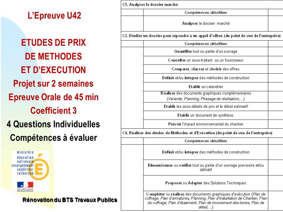 Retour au début LEpreuve U42 ETUDES DE PRIX DE METHODES ET DEXECUTION Projet sur 2 semaines Epreuve Orale de 45 min Coefficient 3 4 Questions Individu