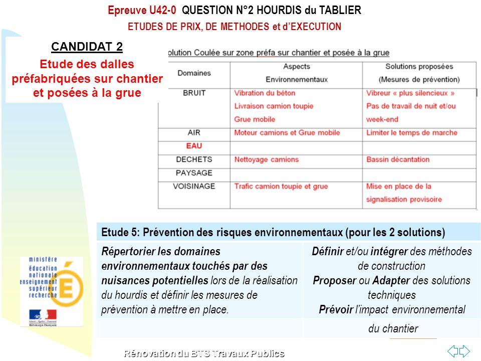 Retour au début Rénovation du BTS Travaux Publics Etude 5: Prévention des risques environnementaux (pour les 2 solutions) Répertorier les domaines env