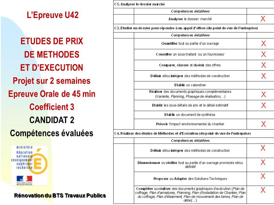 Retour au début LEpreuve U42 ETUDES DE PRIX DE METHODES ET DEXECUTION Projet sur 2 semaines Epreuve Orale de 45 min Coefficient 3 CANDIDAT 2 Compétenc