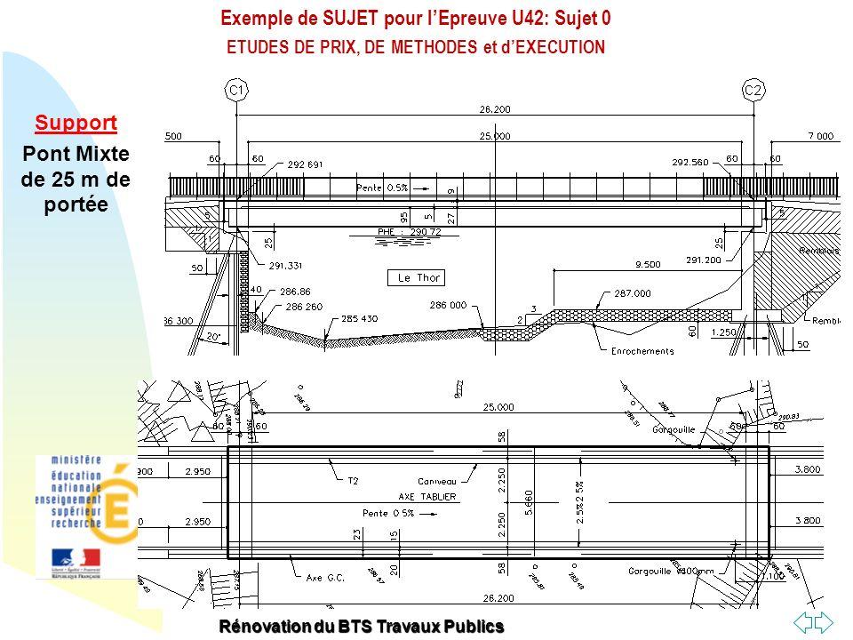 Retour au début Exemple de SUJET pour lEpreuve U42: Sujet 0 ETUDES DE PRIX, DE METHODES et dEXECUTION Rénovation du BTS Travaux Publics Tablier Mixte Ossature métallique constituée de 2 PRS Dalles préfabriquées