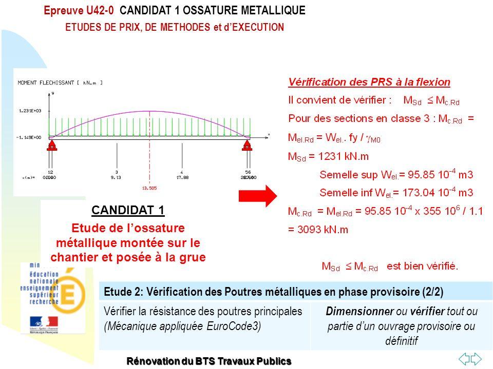 Retour au début Epreuve U42-0 CANDIDAT 1 OSSATURE METALLIQUE ETUDES DE PRIX, DE METHODES et dEXECUTION Rénovation du BTS Travaux Publics Etude 2: Véri