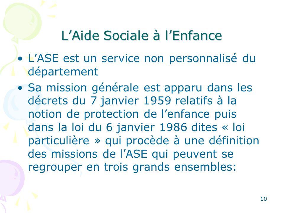 LAide Sociale à lEnfance LASE est un service non personnalisé du département Sa mission générale est apparu dans les décrets du 7 janvier 1959 relatif