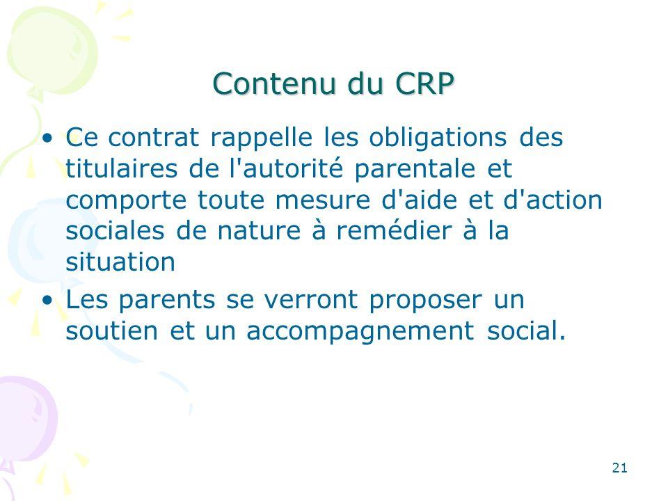 Contenu du CRP Ce contrat rappelle les obligations des titulaires de l'autorité parentale et comporte toute mesure d'aide et d'action sociales de natu