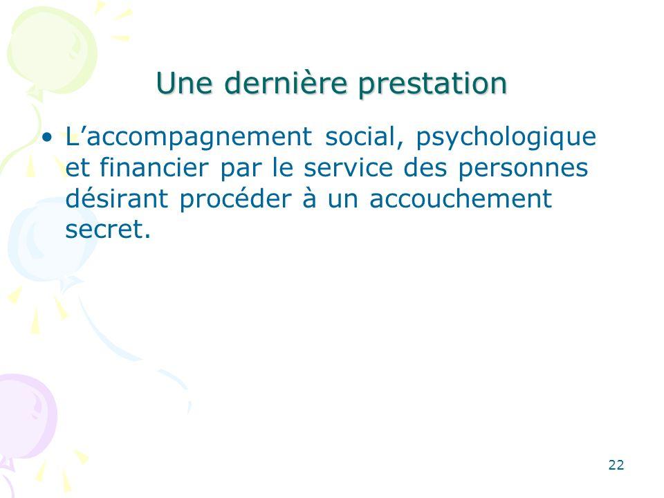 Une dernière prestation Laccompagnement social, psychologique et financier par le service des personnes désirant procéder à un accouchement secret. 22