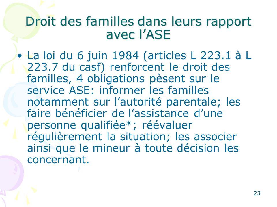 Droit des familles dans leurs rapport avec lASE La loi du 6 juin 1984 (articles L 223.1 à L 223.7 du casf) renforcent le droit des familles, 4 obligat