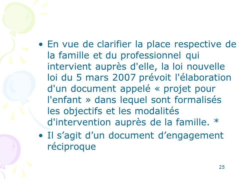 En vue de clarifier la place respective de la famille et du professionnel qui intervient auprès d'elle, la loi nouvelle loi du 5 mars 2007 prévoit l'é