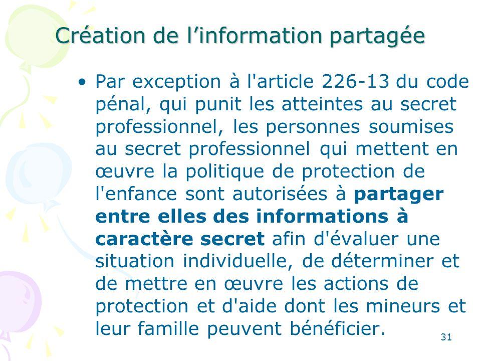 Création de linformation partagée Par exception à l'article 226-13 du code pénal, qui punit les atteintes au secret professionnel, les personnes soumi