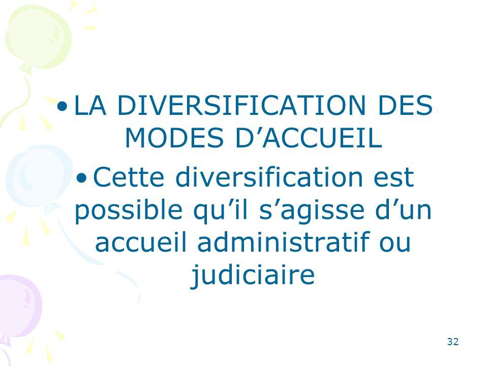 LA DIVERSIFICATION DES MODES DACCUEIL Cette diversification est possible quil sagisse dun accueil administratif ou judiciaire 32