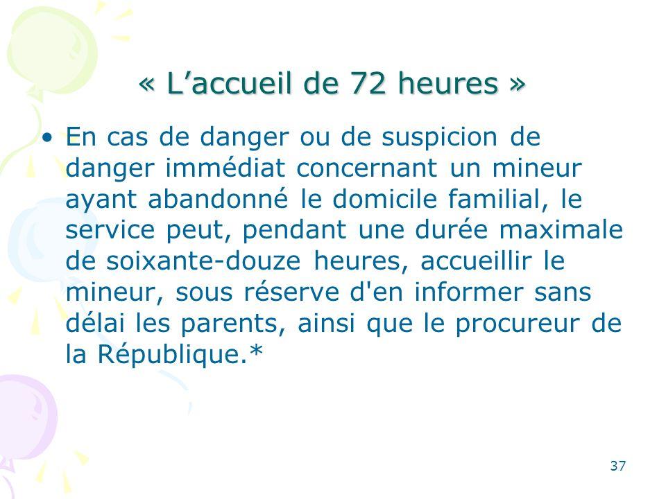 « Laccueil de 72 heures » En cas de danger ou de suspicion de danger immédiat concernant un mineur ayant abandonné le domicile familial, le service pe