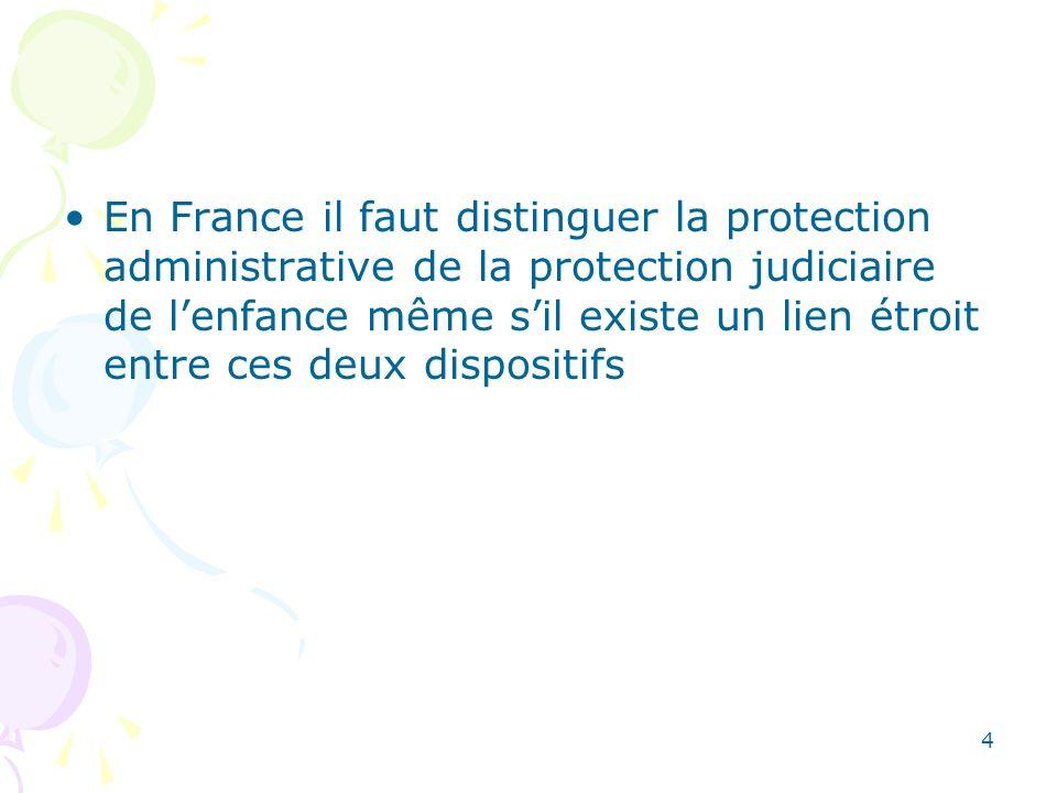 En France il faut distinguer la protection administrative de la protection judiciaire de lenfance même sil existe un lien étroit entre ces deux dispos