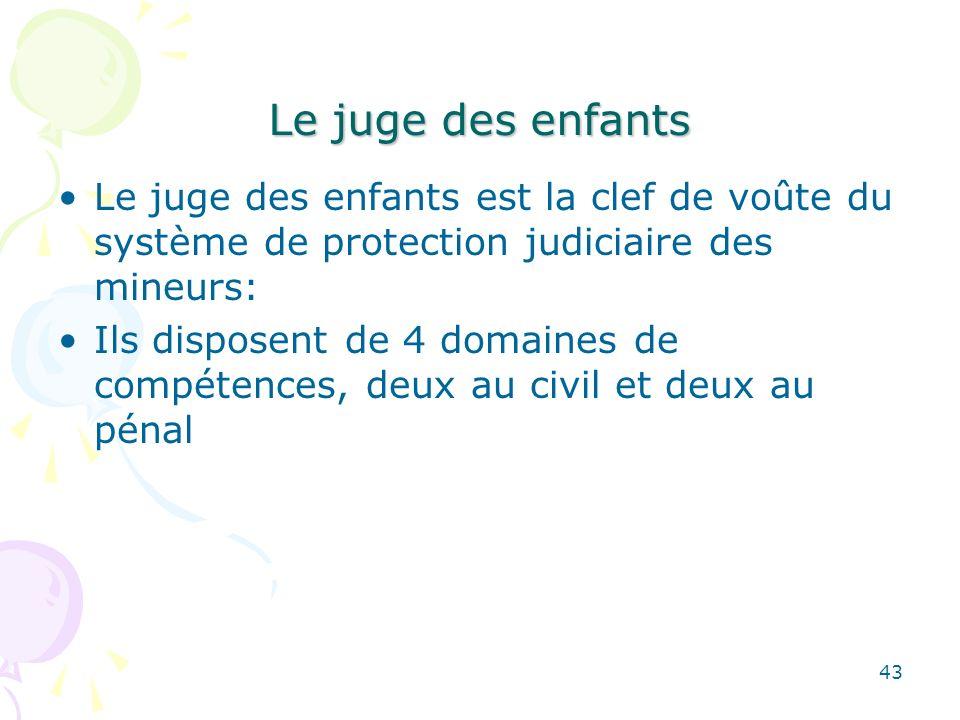 Le juge des enfants Le juge des enfants est la clef de voûte du système de protection judiciaire des mineurs: Ils disposent de 4 domaines de compétenc