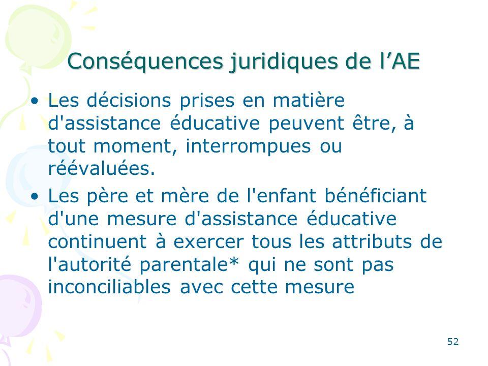 Conséquences juridiques de lAE Les décisions prises en matière d'assistance éducative peuvent être, à tout moment, interrompues ou réévaluées. Les pèr
