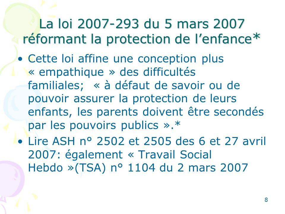 La loi 2007-293 du 5 mars 2007 réformant la protection de lenfance * Cette loi affine une conception plus « empathique » des difficultés familiales; «
