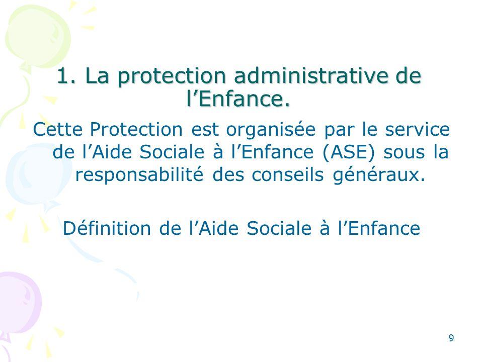 1. La protection administrative de lEnfance. Cette Protection est organisée par le service de lAide Sociale à lEnfance (ASE) sous la responsabilité de