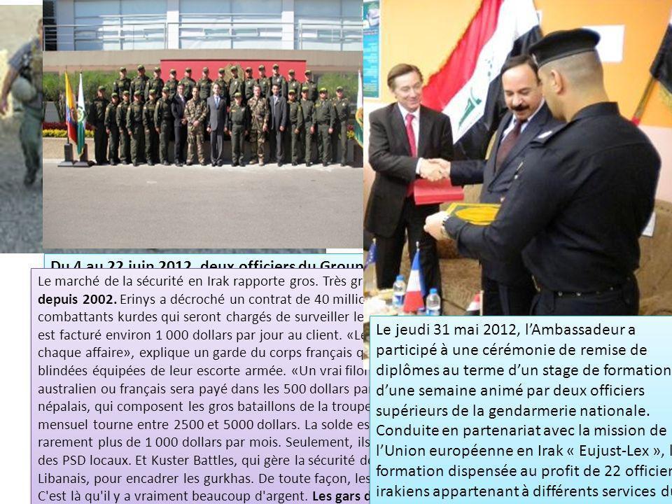 Du 4 au 22 juin 2012, deux officiers du Groupe dIntervention de la Gendarmerie Nationale (GIGN) se sont rendus à Bogota pour délivrer une formation su