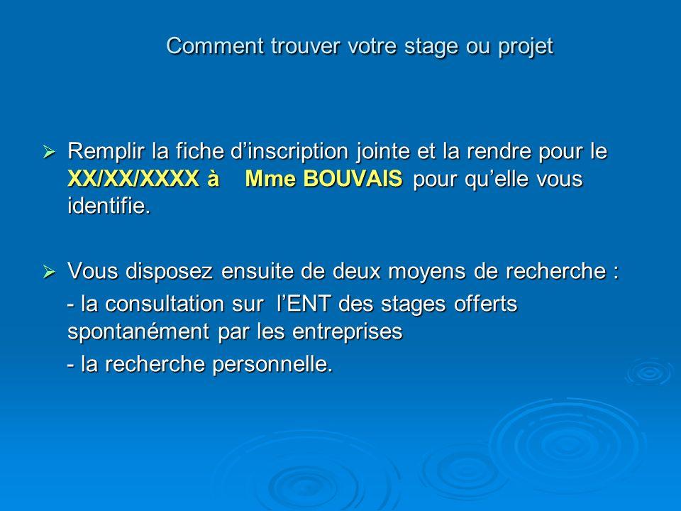 Comment trouver votre stage ou projet Remplir la fiche dinscription jointe et la rendre pour le XX/XX/XXXX à Mme BOUVAIS pour quelle vous identifie. R