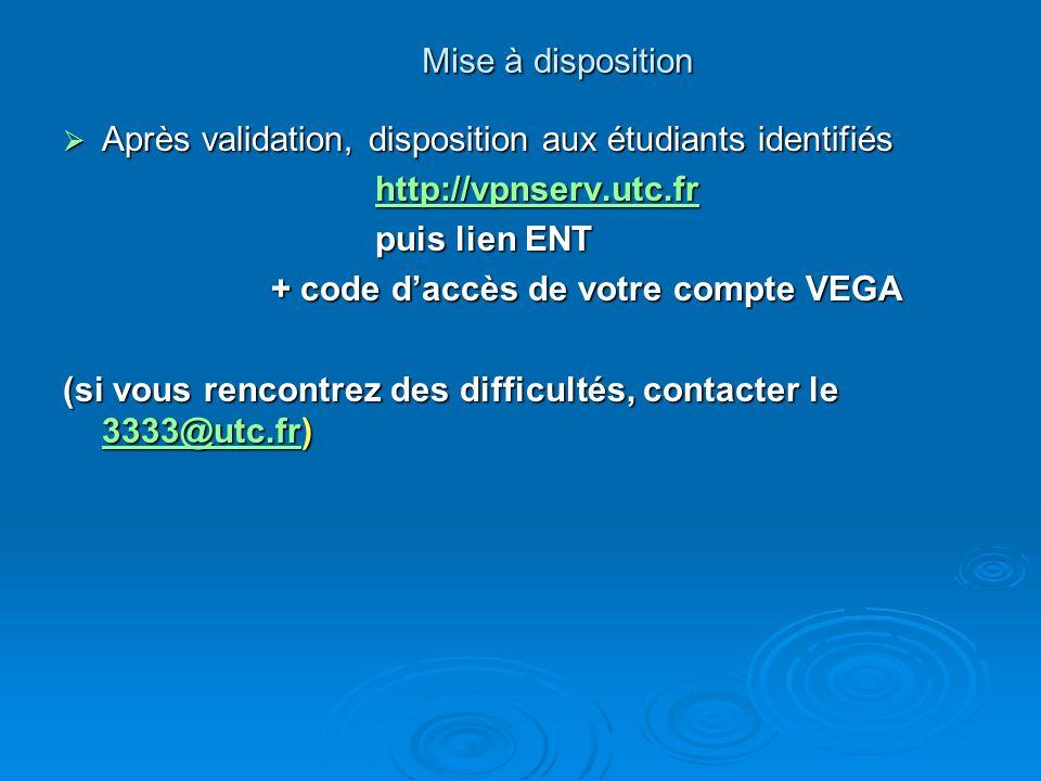 Mise à disposition Après validation, disposition aux étudiants identifiés Après validation, disposition aux étudiants identifiés http://vpnserv.utc.fr