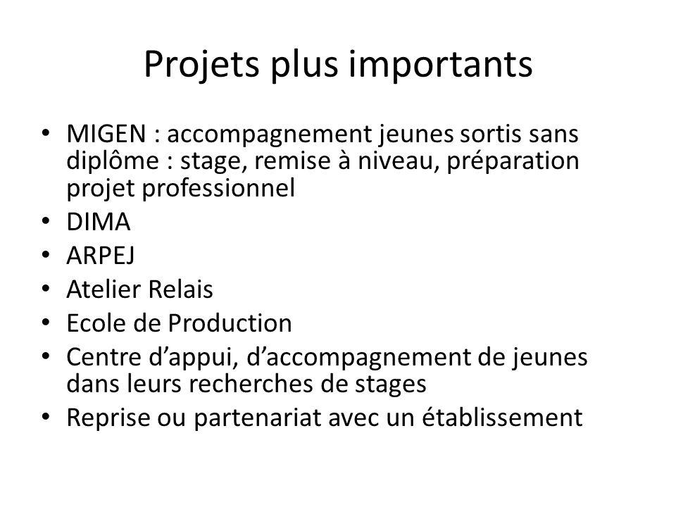 Projets plus importants MIGEN : accompagnement jeunes sortis sans diplôme : stage, remise à niveau, préparation projet professionnel DIMA ARPEJ Atelie