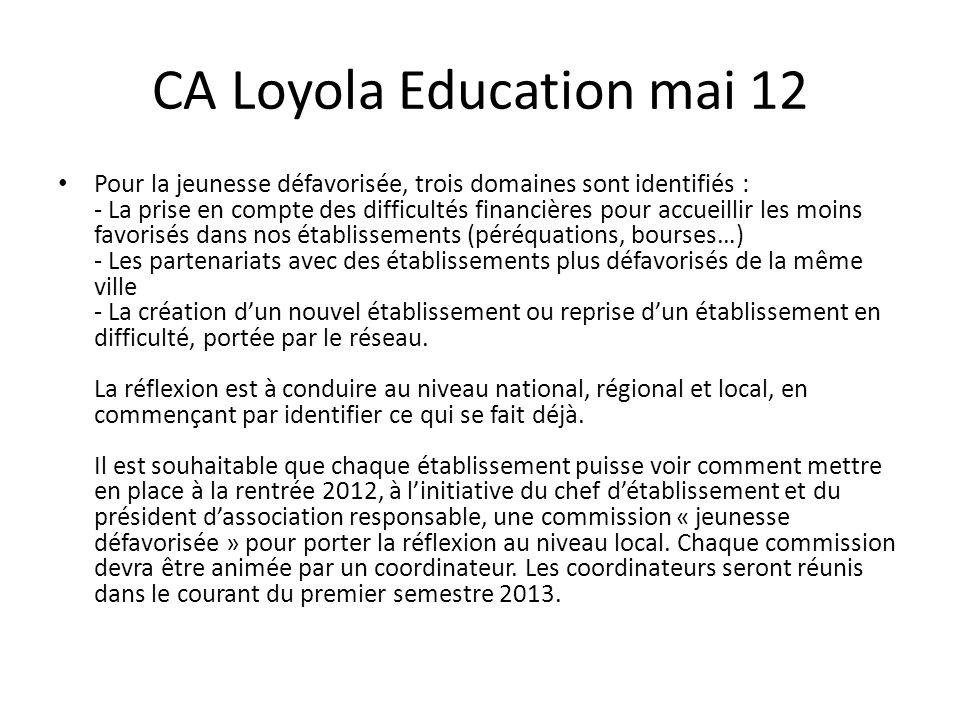 CA Loyola Education mai 12 Pour la jeunesse défavorisée, trois domaines sont identifiés : - La prise en compte des difficultés financières pour accuei