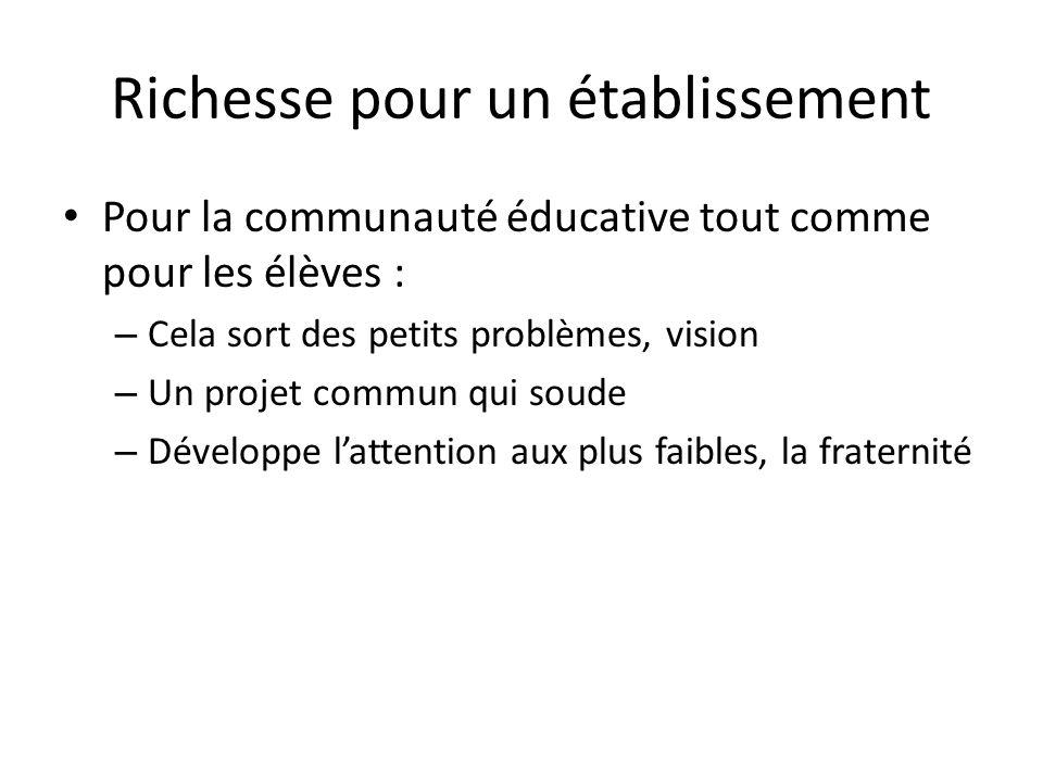 Richesse pour un établissement Pour la communauté éducative tout comme pour les élèves : – Cela sort des petits problèmes, vision – Un projet commun q