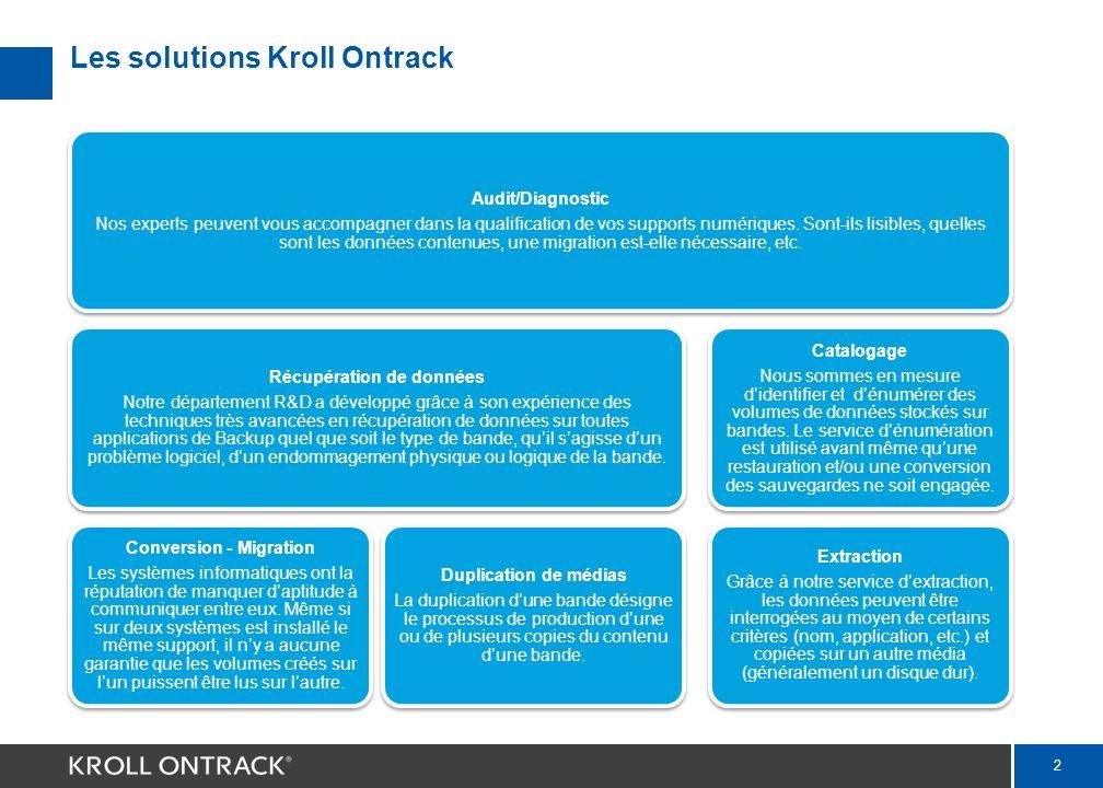 2 Les solutions Kroll Ontrack Audit/Diagnostic Nos experts peuvent vous accompagner dans la qualification de vos supports numériques.