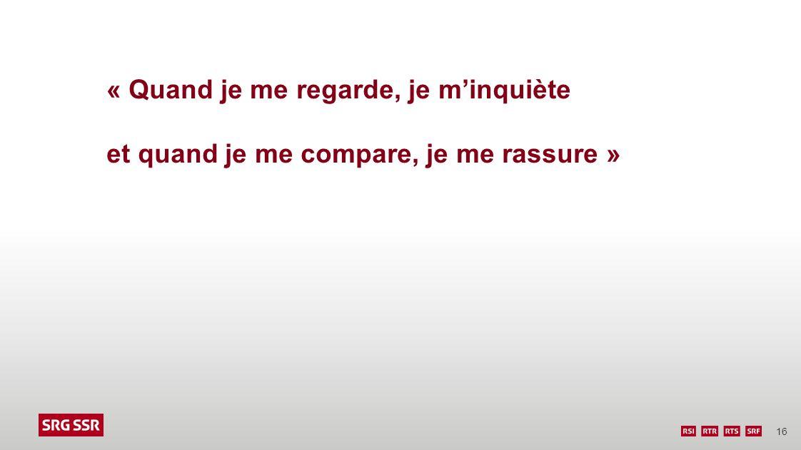 16 « Quand je me regarde, je minquiète et quand je me compare, je me rassure »