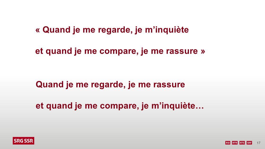 17 Quand je me regarde, je me rassure et quand je me compare, je minquiète… « Quand je me regarde, je minquiète et quand je me compare, je me rassure