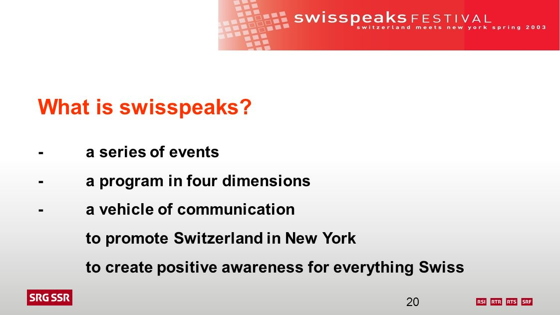 What is swisspeaks? -a series of events -a program in four dimensions -a vehicle of communication to promote Switzerland in New York to create positiv