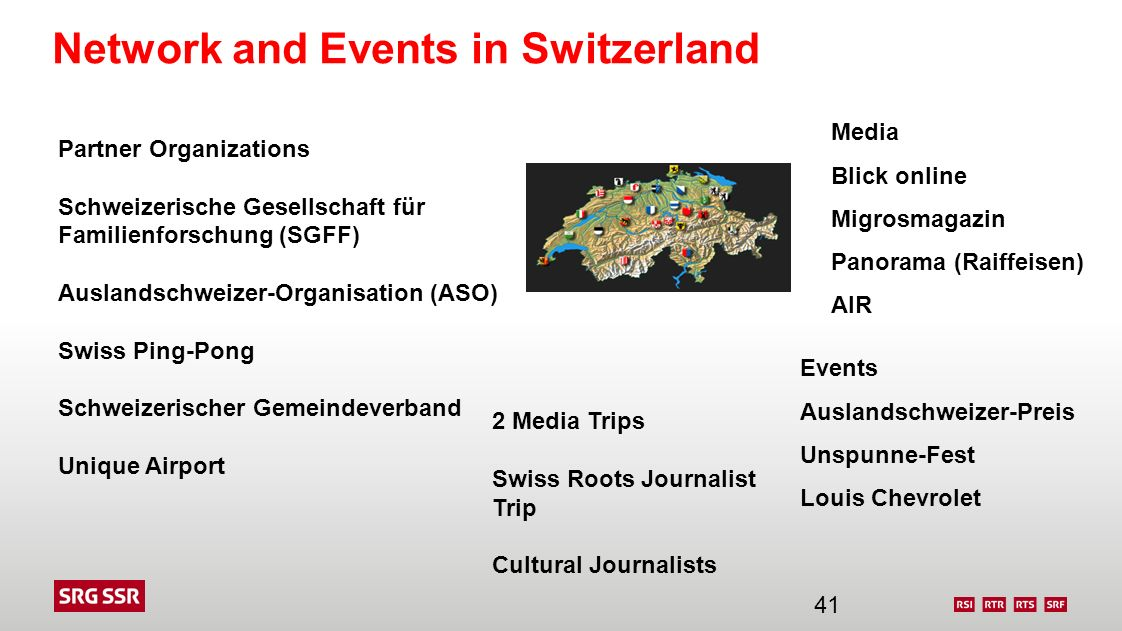 Network and Events in Switzerland 2 Media Trips Swiss Roots Journalist Trip Cultural Journalists Partner Organizations Schweizerische Gesellschaft für