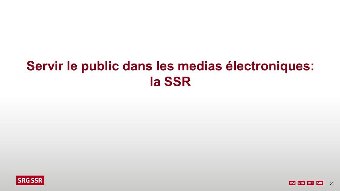 51 Servir le public dans les medias électroniques: la SSR