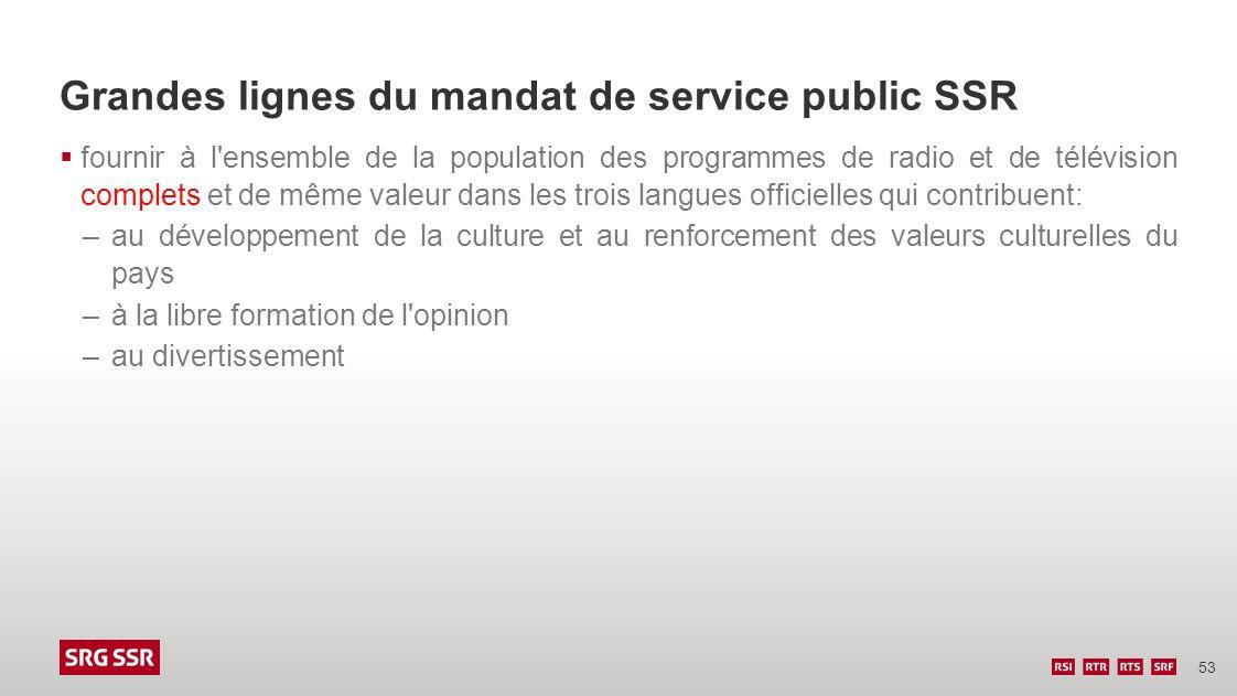 53 Grandes lignes du mandat de service public SSR fournir à l'ensemble de la population des programmes de radio et de télévision complets et de même v